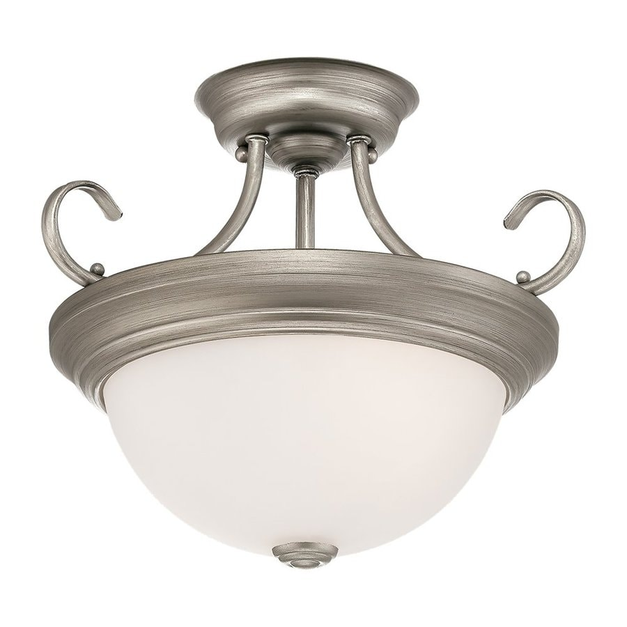 Millennium Lighting 13-in W Rubbed Silver Frosted Glass Semi-Flush Mount Light