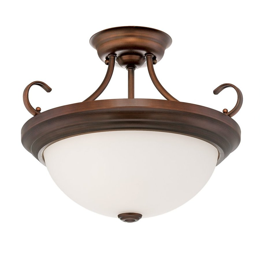 Millennium Lighting 15-in W Rubbed Bronze Frosted Glass Semi-Flush Mount Light