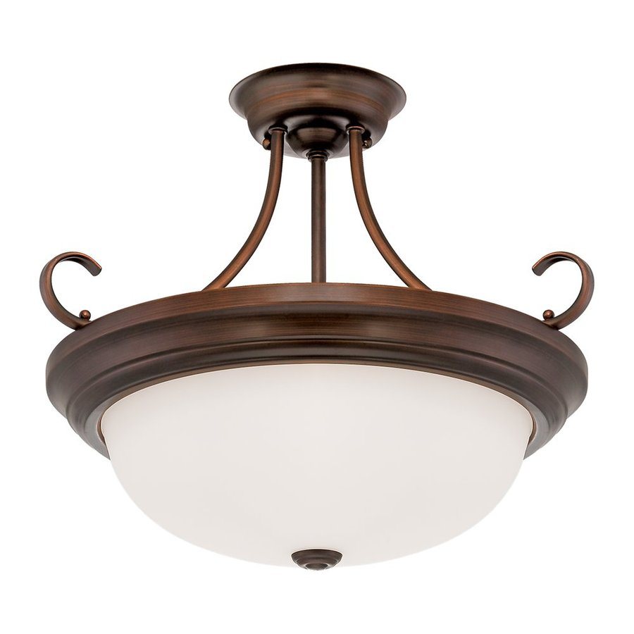 Millennium Lighting 17-in W Rubbed Bronze Frosted Glass Semi-Flush Mount Light