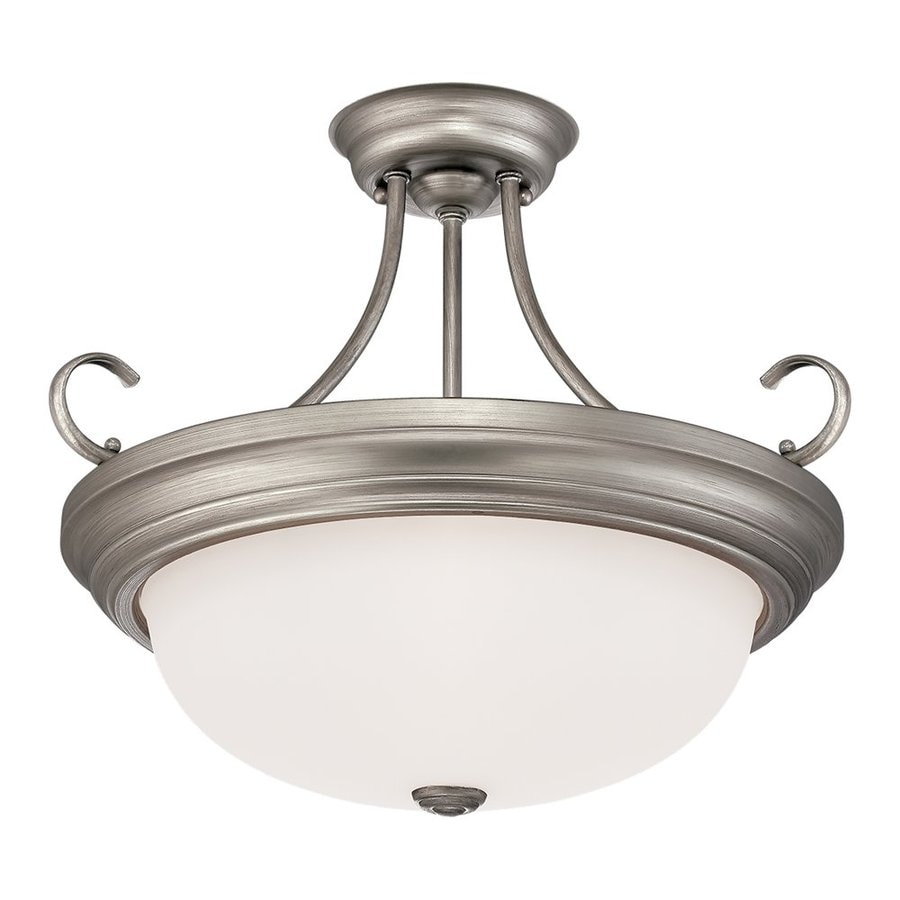 Millennium Lighting 17-in W Rubbed Silver Frosted Glass Semi-Flush Mount Light