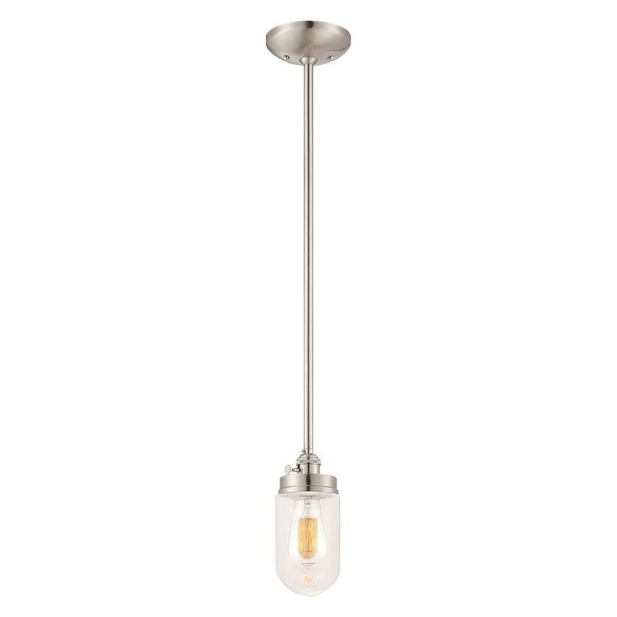 Millennium Lighting Neo-Industrial 4.5-in Nickel Industrial Mini Clear Glass Jar Pendant