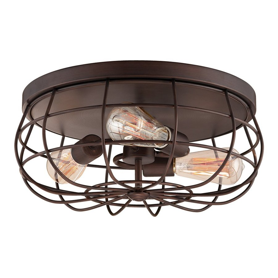 Shop millennium lighting neo industrial 15 5 in w rubbed bronze flush mount light at - Industrial style ceiling fan with light ...