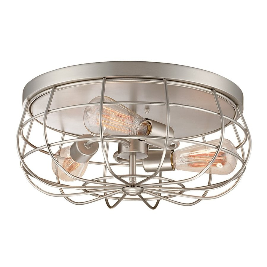 Shop Millennium Lighting Neo Industrial 15 In W Satin Nickel Wiring A Ceiling Light Fixture Standard Flush Mount
