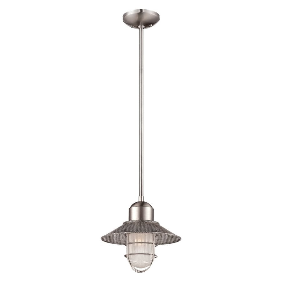 Millennium Lighting Neo-Industrial 10.5-in Nickel Barn Mini Etched Glass Warehouse Pendant