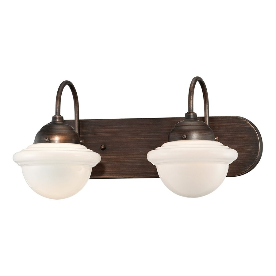 Millennium Lighting Neo-Industrial 2-Light 9-in Rubbed bronze Schoolhouse Vanity Light