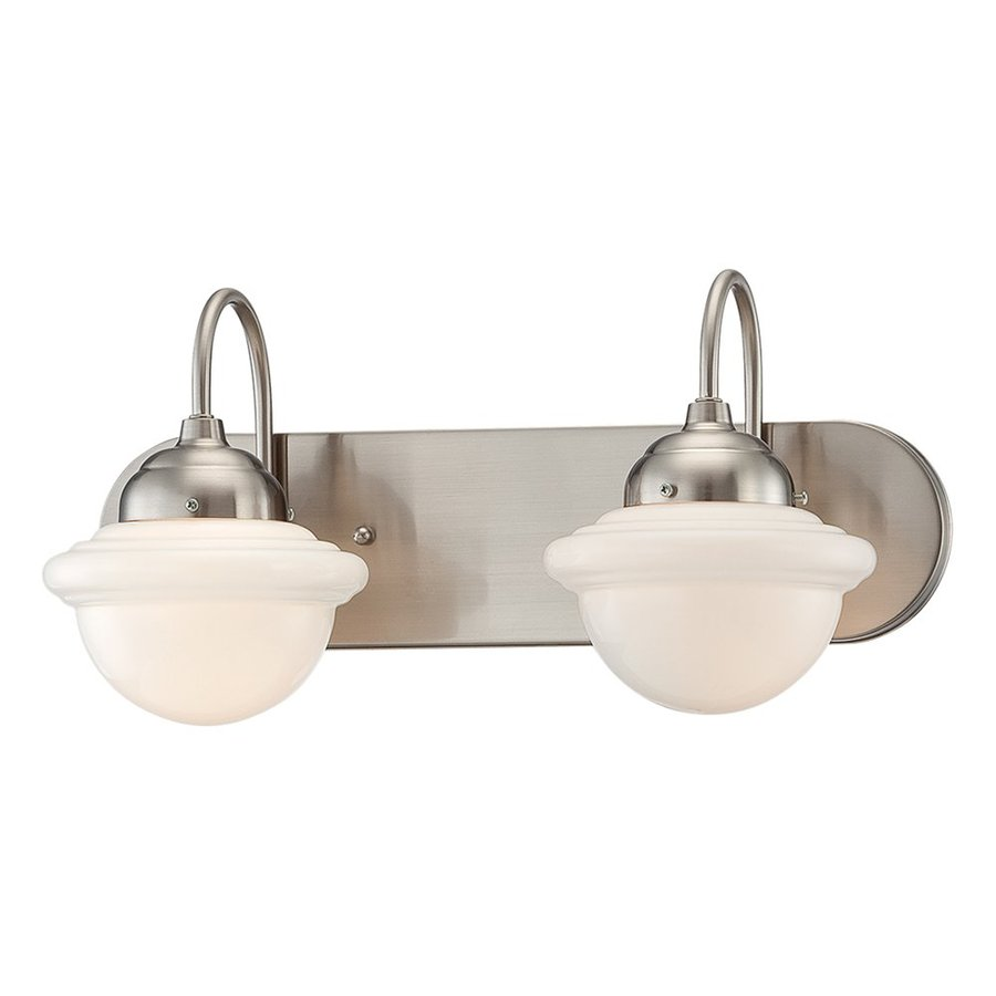 Millennium Lighting Neo-Industrial 2-Light 9-in Satin Nickel Schoolhouse Vanity Light