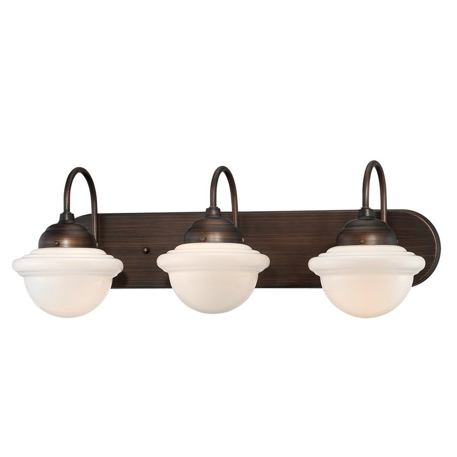 Millennium Lighting Neo-Industrial 3-Light 9-in Rubbed Bronze Schoolhouse Vanity Light