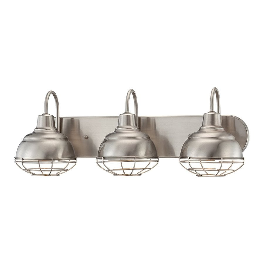 shop millennium lighting neo-industrial 3-light 9-in satin nickel