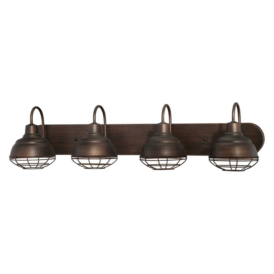 Vanity Lights For Bathroom Bronze : Shop Millennium Lighting Neo-Industrial 4-Light 9-in Rubbed Bronze Warehouse Vanity Light at ...