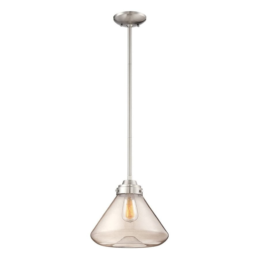 Millennium Lighting 12.5-in Nickel Industrial Mini Clear Glass Jar Pendant