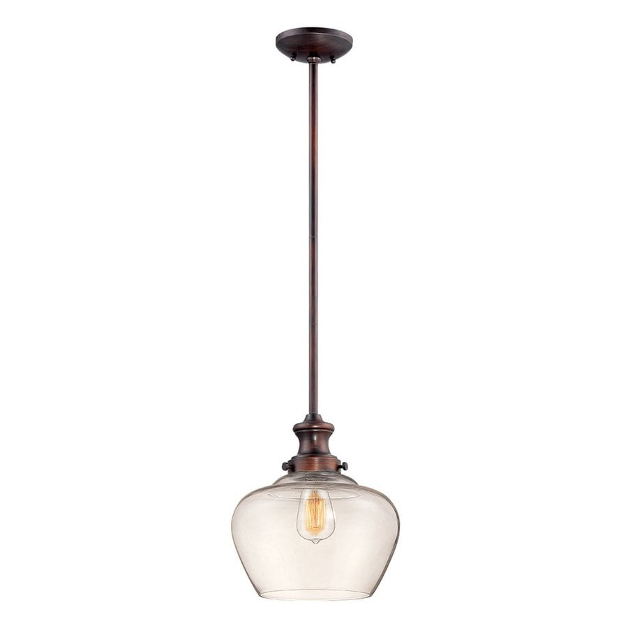 Millennium Lighting 11-in Bronze Industrial Mini Clear Glass Acorn Pendant