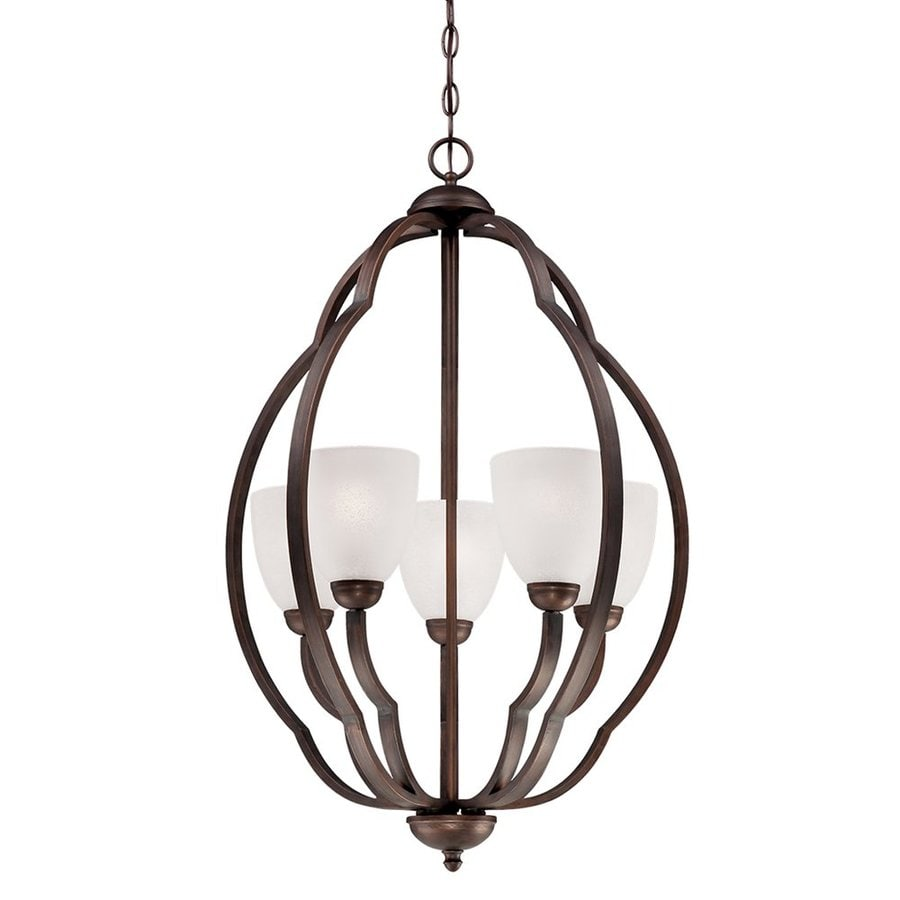Millennium Lighting Camilla 21.75-in 5-Light Rubbed Bronze Scavo Glass Shaded Chandelier