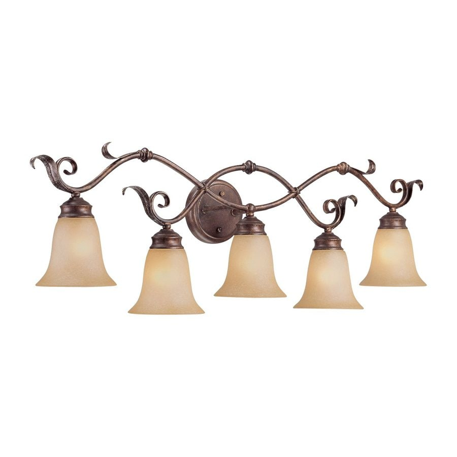 Shop millennium lighting 5 light 12 in burled bronze for Bathroom 5 light fixtures