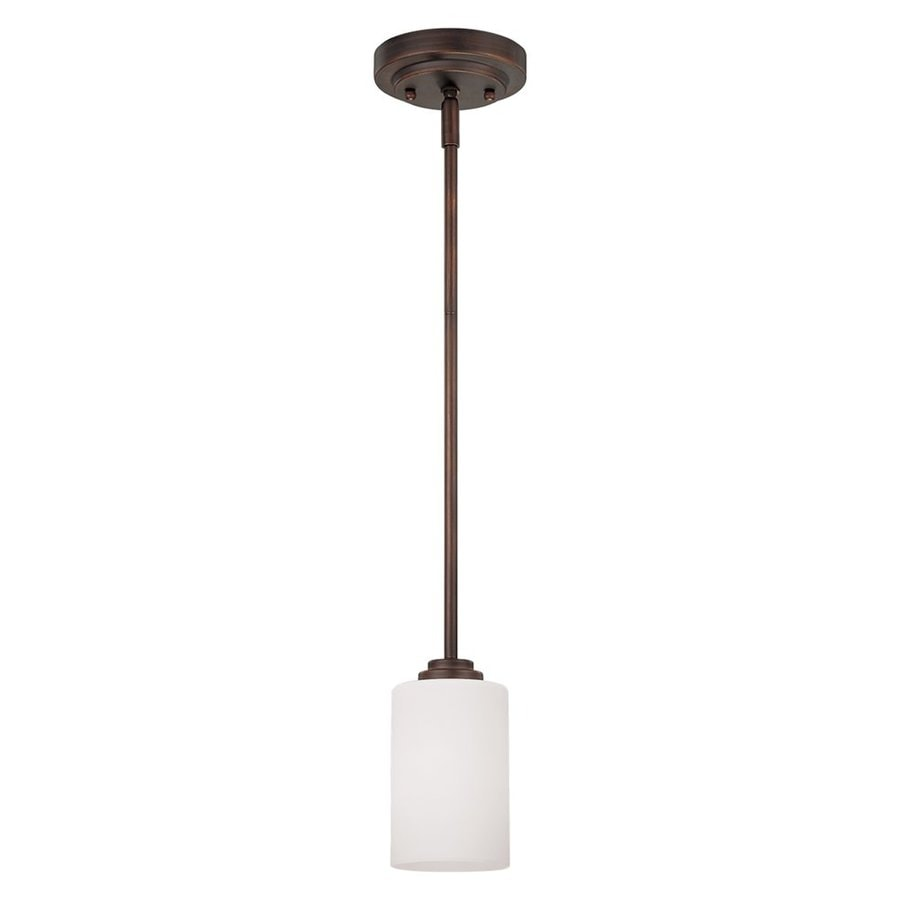 Millennium Lighting Bristo 5-in Rubbed Bronze Mini Etched Glass Cylinder Pendant