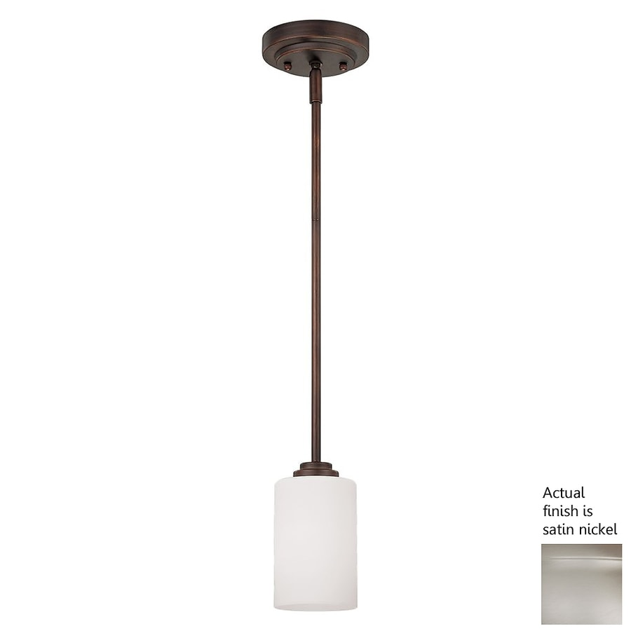 Millennium Lighting Bristo 5-in Nickel Mini Etched Glass Cylinder Pendant