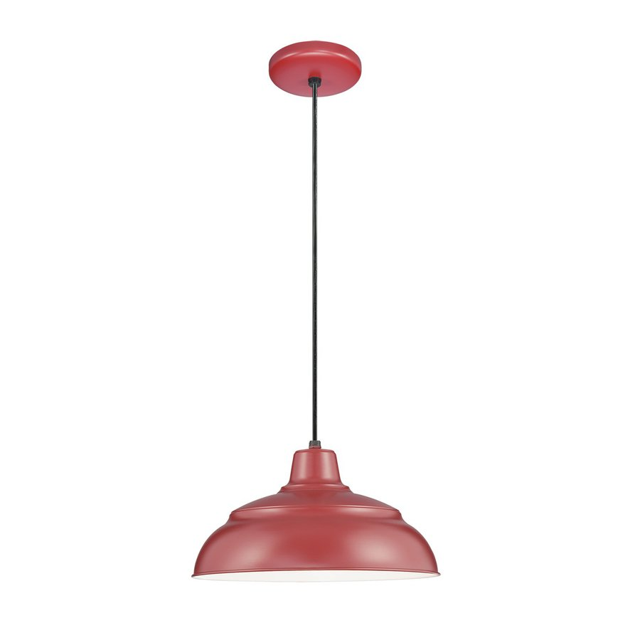 Millennium Lighting R Series 17-in Satin Red Barn Mini Warehouse Pendant