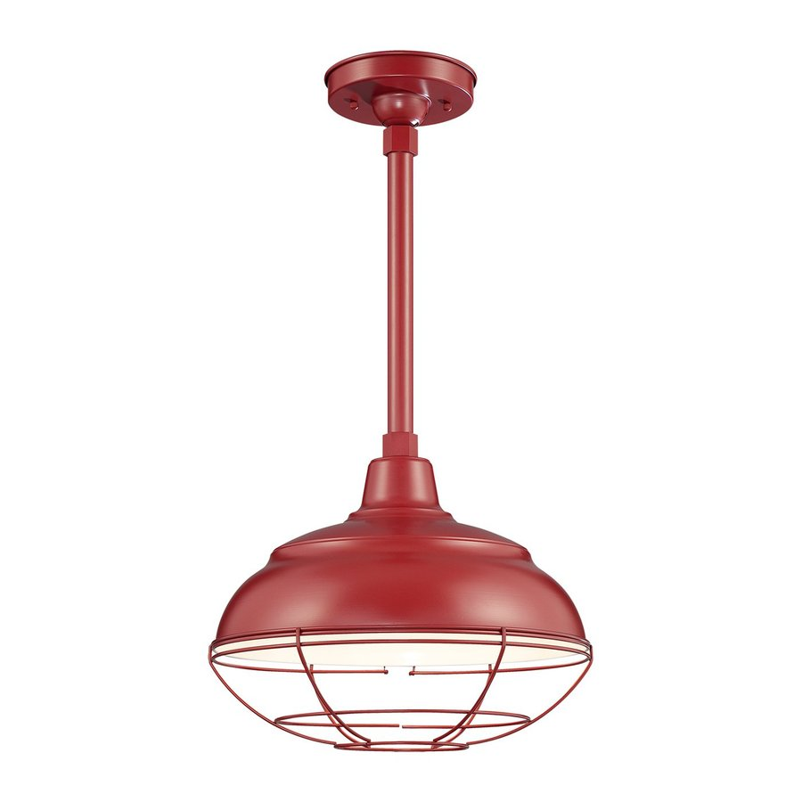 Millennium Lighting R Series 14-in Satin Red Barn Mini Warehouse Pendant