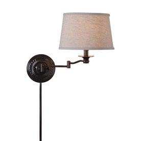 kenroy home 17in h copper bronze swingarm wallmounted lamp with