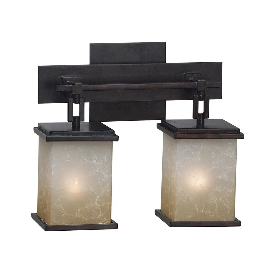 Kenroy Home Plateau 2-Light 11-in Oil Rubbed Bronze Lantern Vanity Light