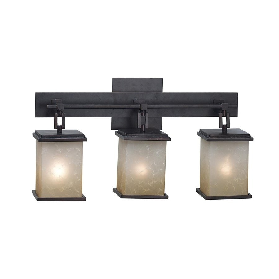 Kenroy Home Plateau 3-Light 11-in Oil rubbed bronze Lantern Vanity Light