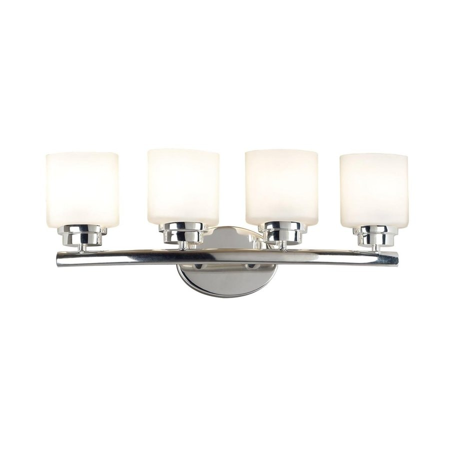 Kenroy Home Bow 4-Light 9-in Polished Nickel Cylinder Vanity Light