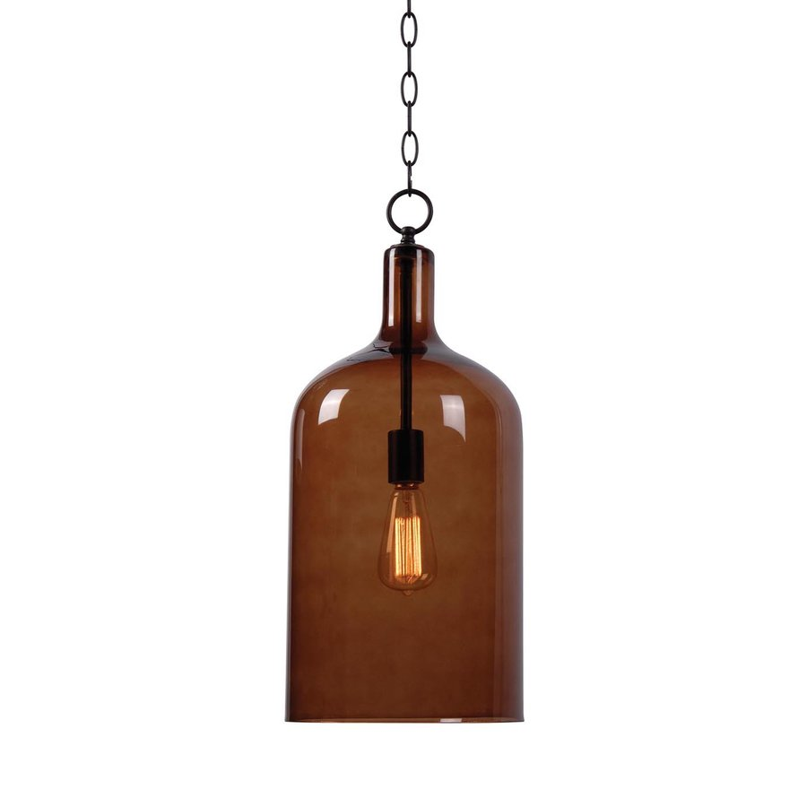 Kenroy Home Capri 10-in Oil-Rubbed Bronze Industrial Single Tinted Glass Cylinder Pendant