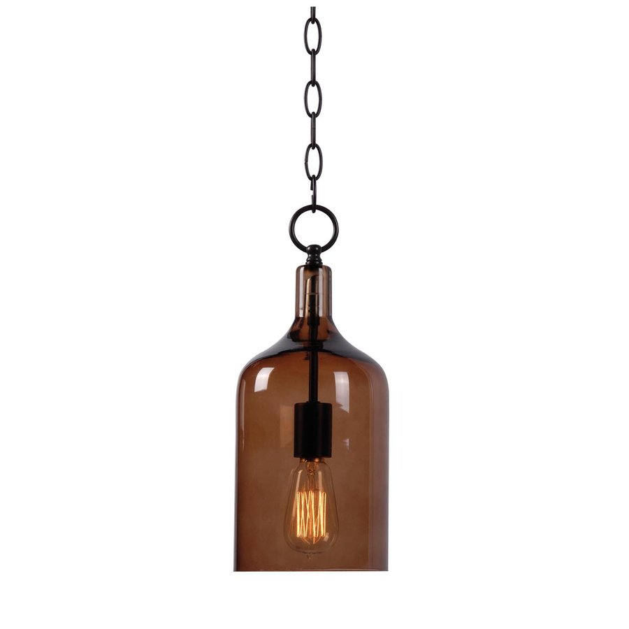 Kenroy Home Capri 6.125-in Oil-Rubbed Bronze Industrial Mini Tinted Glass Cylinder Pendant