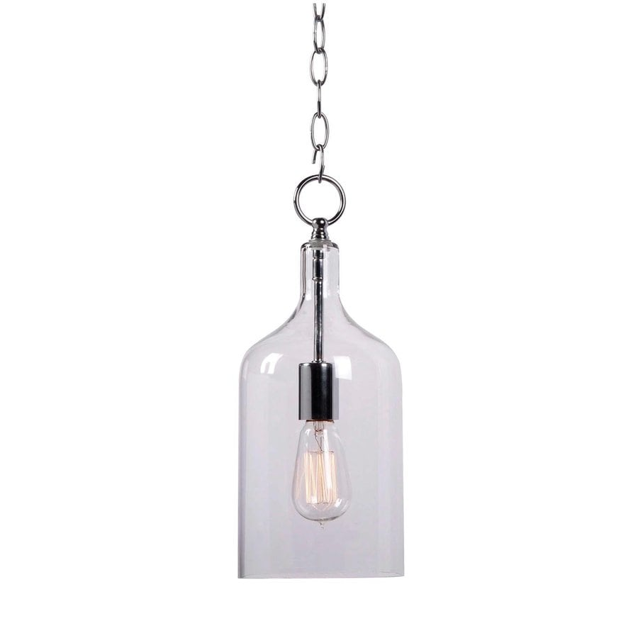 Kenroy Home Capri 6.125-in Chrome Industrial Mini Clear Glass Cylinder Pendant