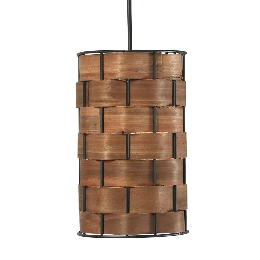 Kenroy Home Shaker 6-in Bronze Rustic Mini Cylinder Pendant