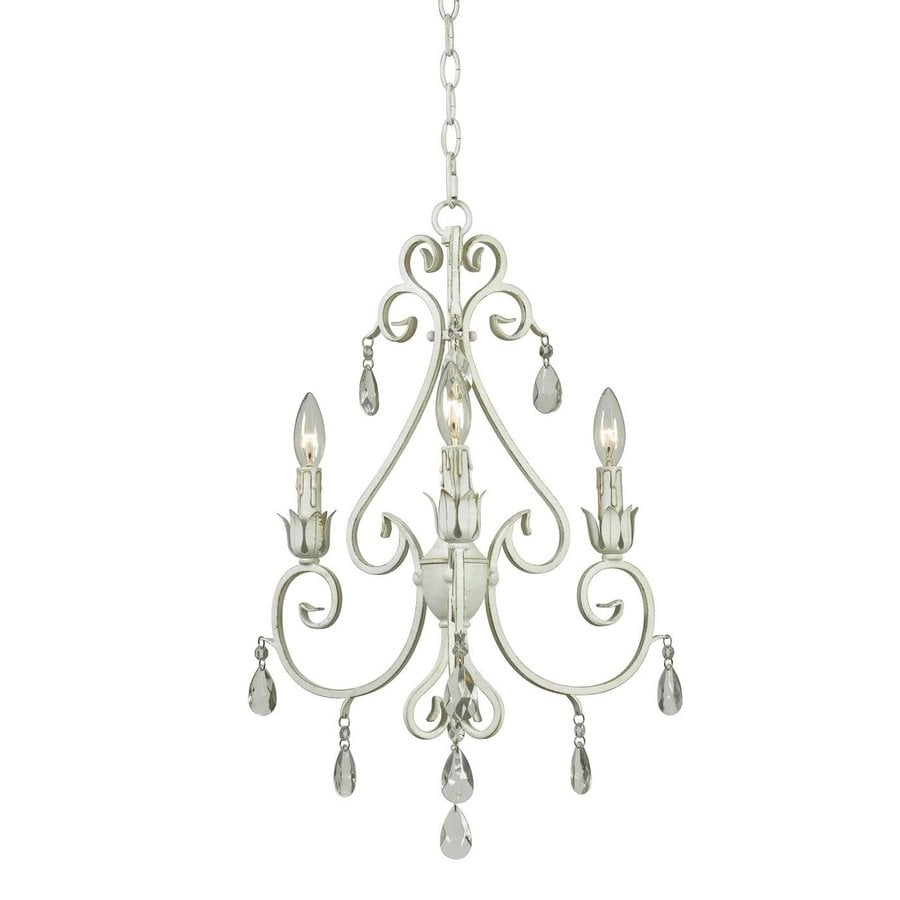 Kenroy Home Chamberlain 18-in 3-Light Weathered White Crystal Candle Chandelier