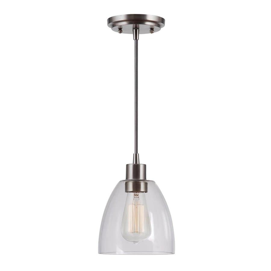 Kenroy Home Edis 6.25-in Brushed Steel Industrial Mini Clear Glass Bell Pendant
