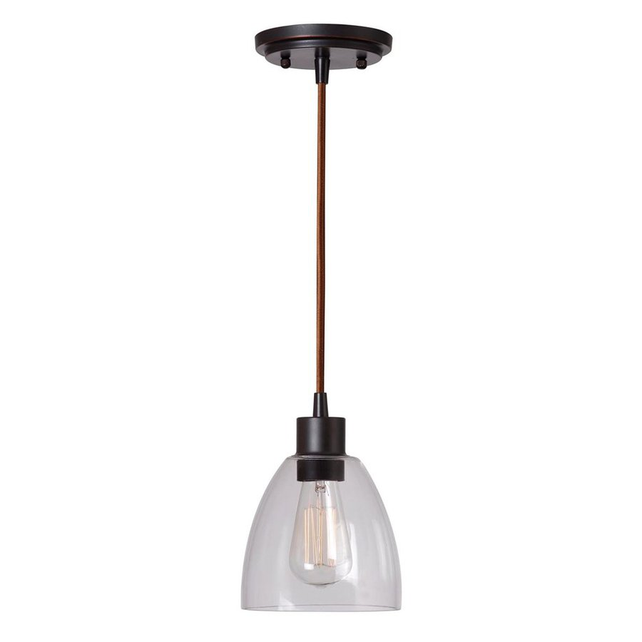 Kenroy Home Edis 6.25-in Oil-Rubbed Bronze Industrial Mini Clear Glass Bell Pendant