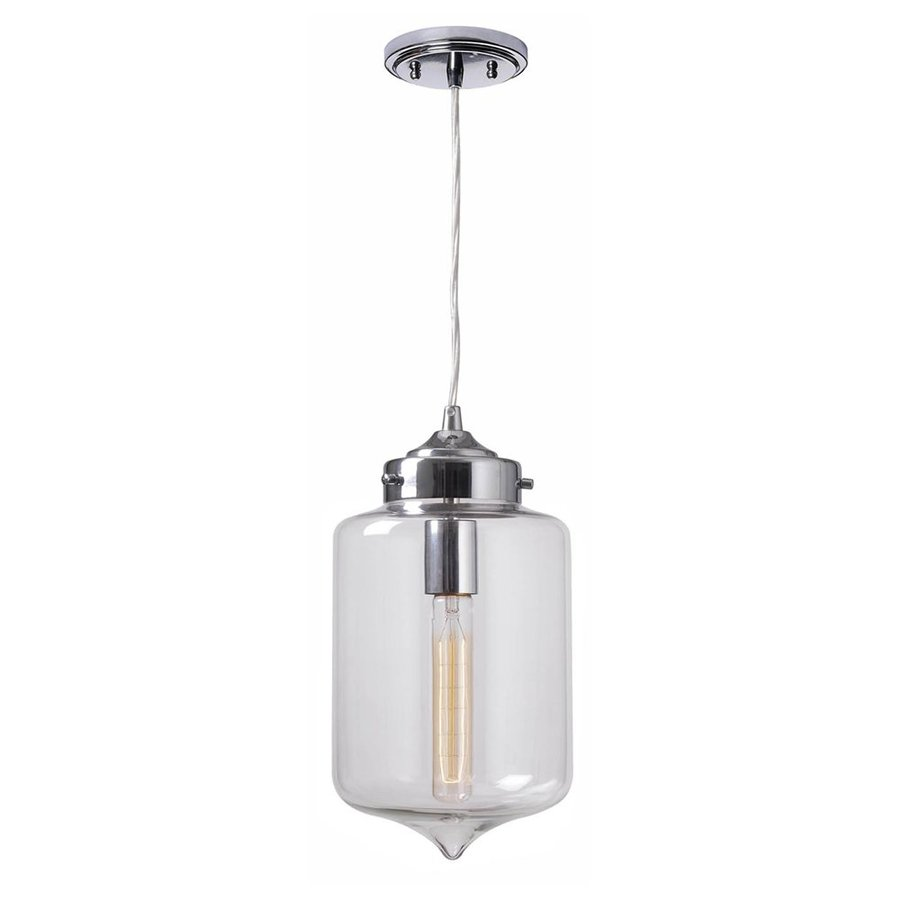 Kenroy Home Casey 7-in Chrome Industrial Mini Clear Glass Jar Pendant