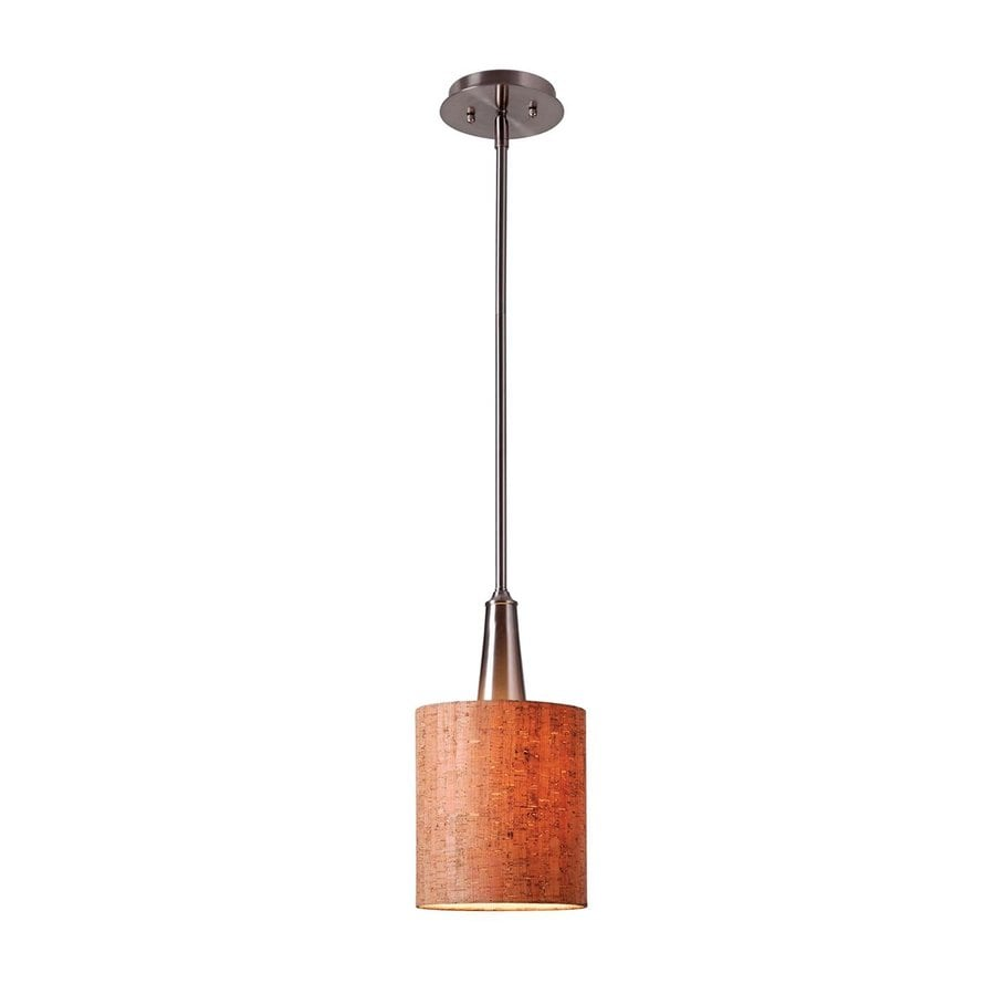 Kenroy Home Bulletin 6.98-in Brushed Steel Rustic Mini Cylinder Pendant