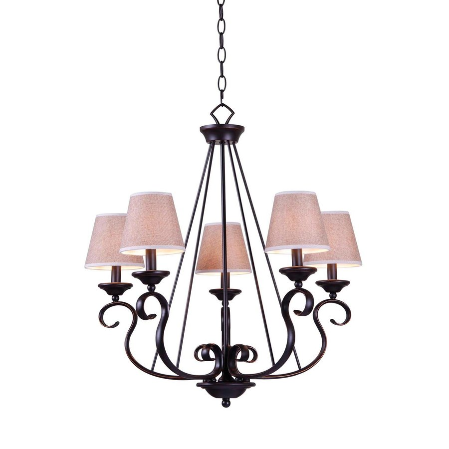 Kenroy Home Basket 23-in 5-Light Oil Rubbed Bronze Vintage Shaded Chandelier