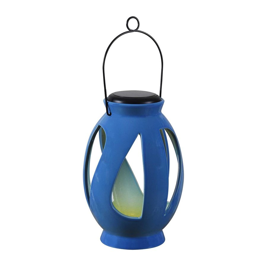 Kenroy Home 6-in x 10-in Blue Ceramic LED Light Outdoor Decorative Lantern