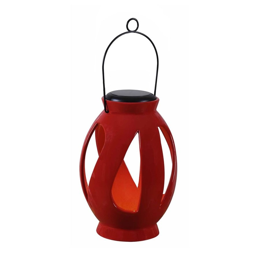 Kenroy Home 6-in x 10-in Red Ceramic LED Light Outdoor Decorative Lantern
