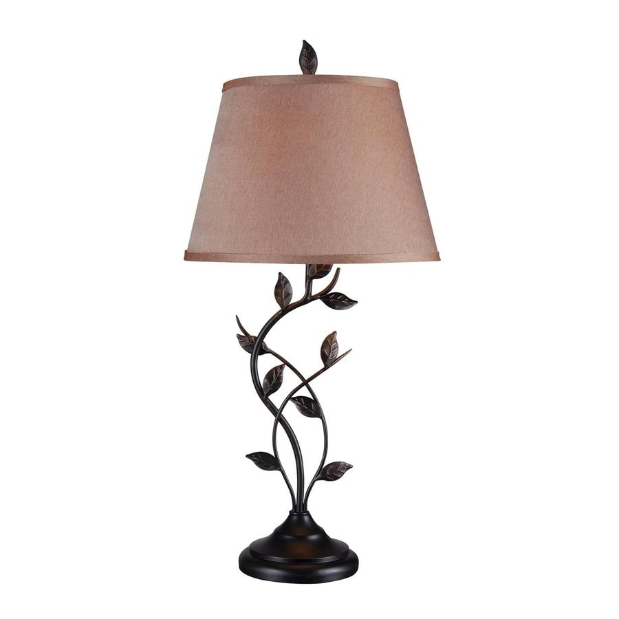 Shop kenroy home ashlen 31 in oil rubbed bronze plug in 3 way table lamp with fabric shade at - Chandelier desk lamp ...
