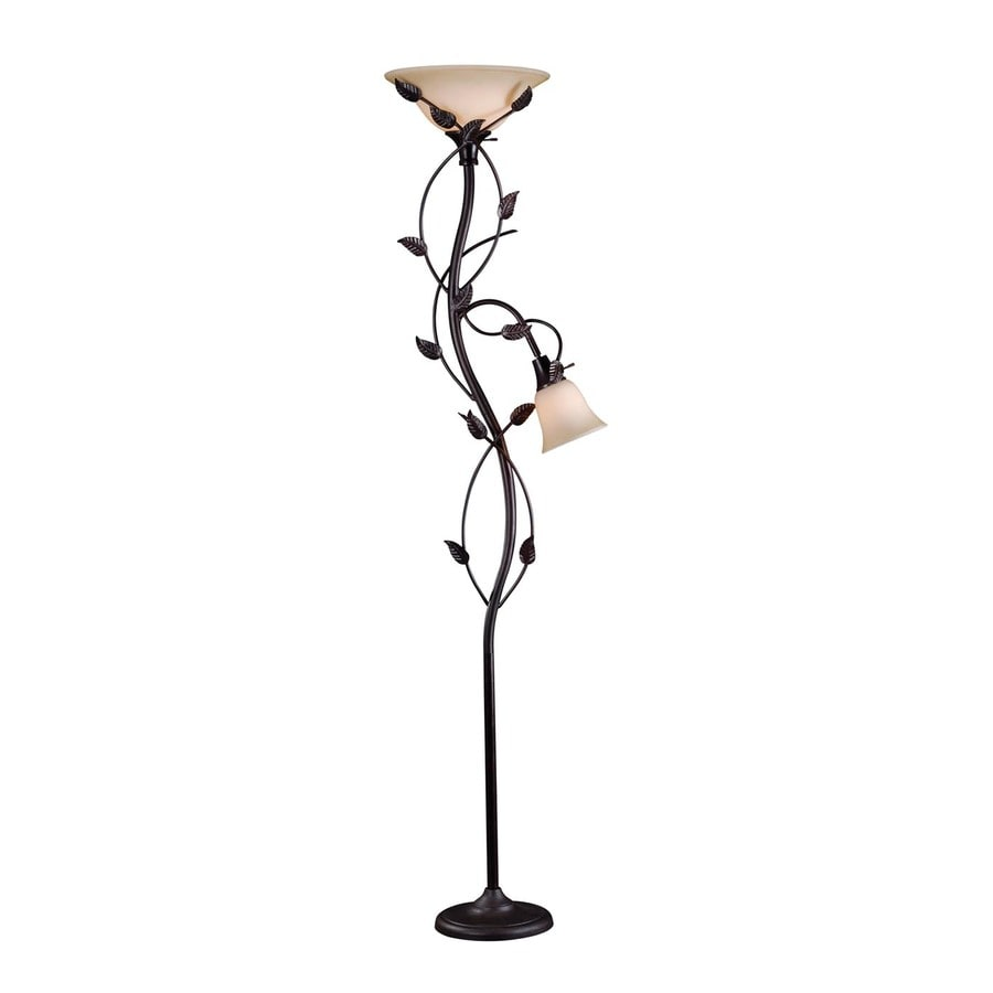Kenroy Home Ashlen 72-in Oil Rubbed Bronze 4-Way Torchiere with Reading Light Floor Lamp with Glass Shade