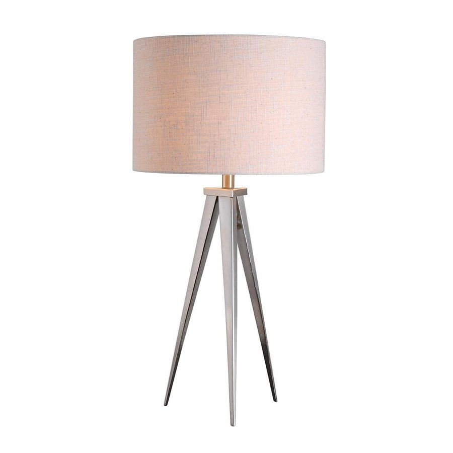 Kenroy Home Foster 29-in 3-Way Brushed Steel Table Lamp with Fabric Shade