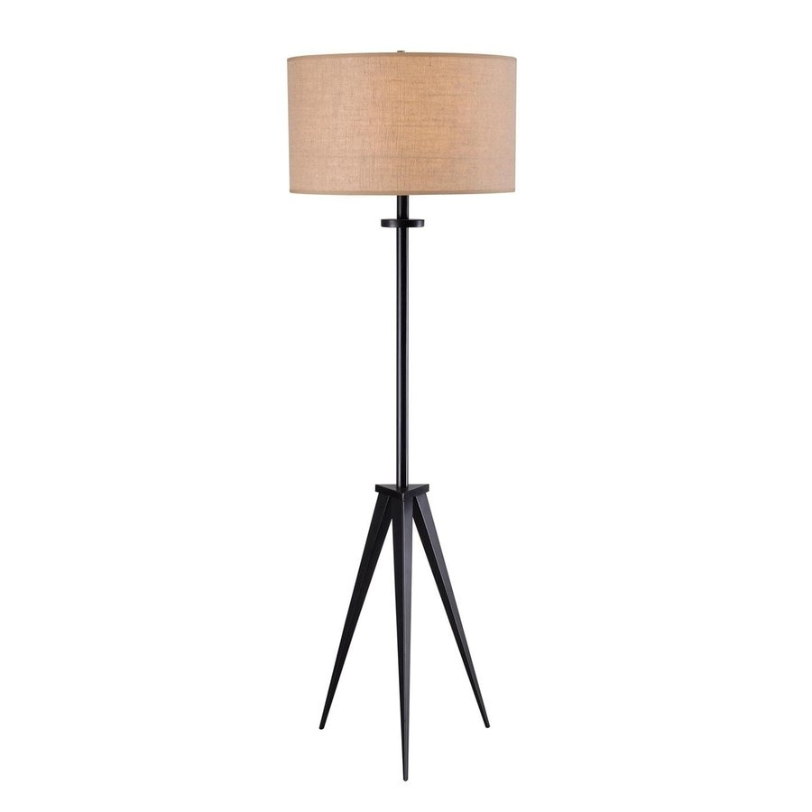 Kenroy Home 58-in Oil Rubbed Bronze 3-Way Tripod Floor Lamp with Fabric Shade