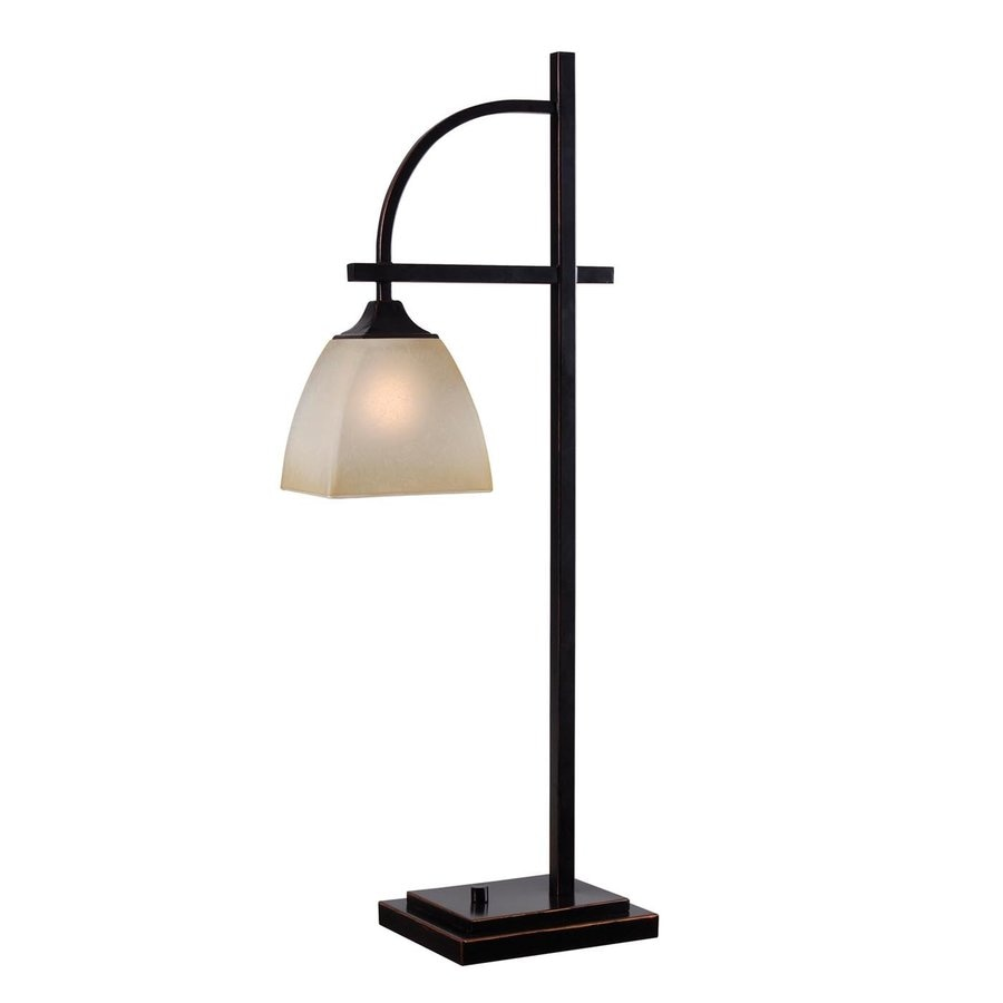 Kenroy Home Arch 28-in 3-Way Oil Rubbed Bronze Table Lamp with Glass Shade