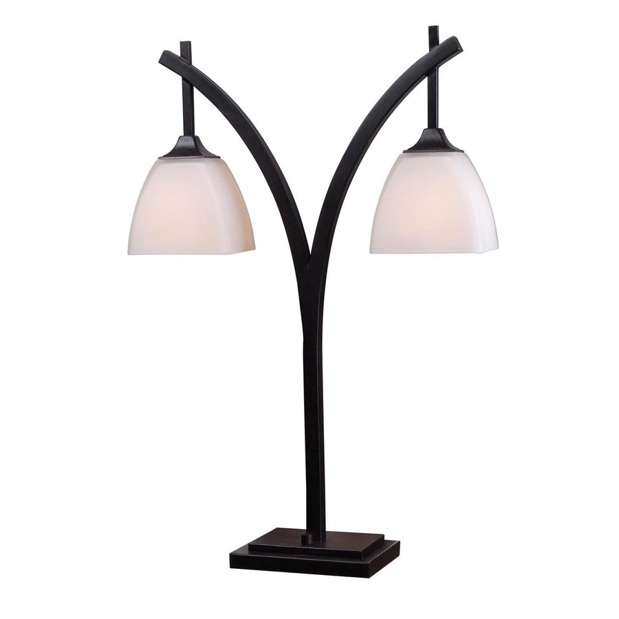 Kenroy Home Structure 26-in Golden Flecked Bronze Downbridge Table Lamp with Glass Shade