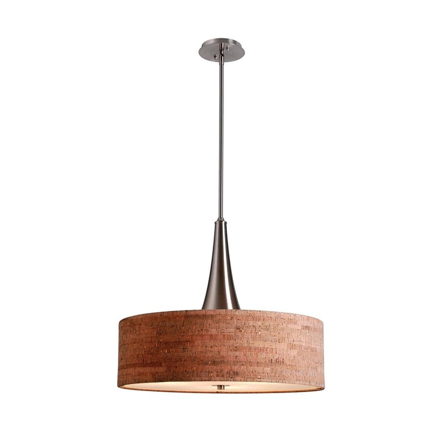 Kenroy Home Bulletin 22.03-in Brushed Steel Rustic Single Drum Pendant