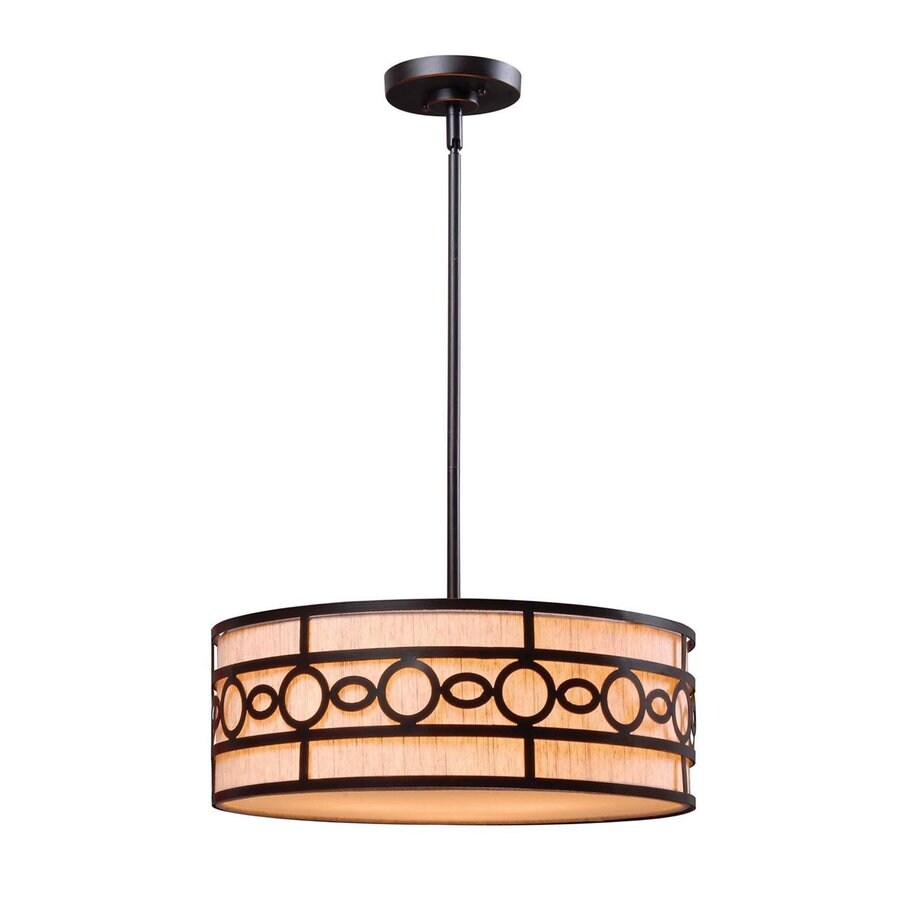 Kenroy Home Vista 18-in Oil-Rubbed Bronze Craftsman Single Drum Pendant