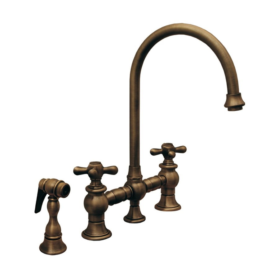 Whitehaus Collection Vintage III Antique Copper 2-Handle High-Arc Kitchen Faucet with Side Spray