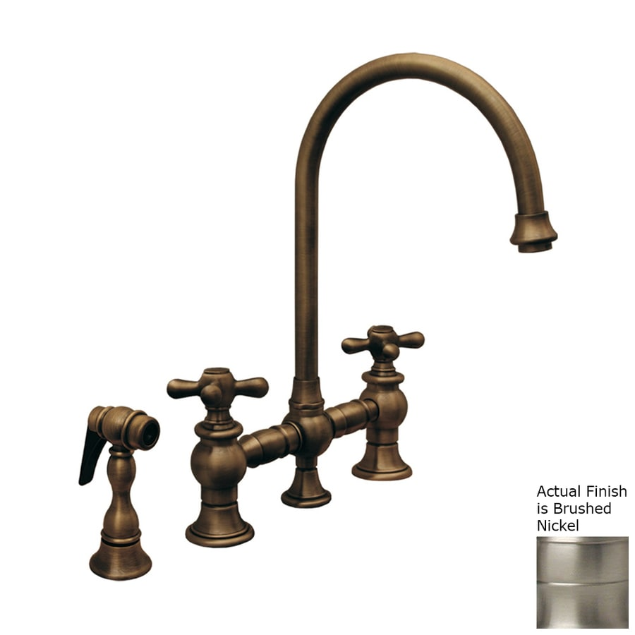 Whitehaus Collection Vintage III Brushed Nickel 2-handle Deck Mount High-Arc Kitchen Faucet