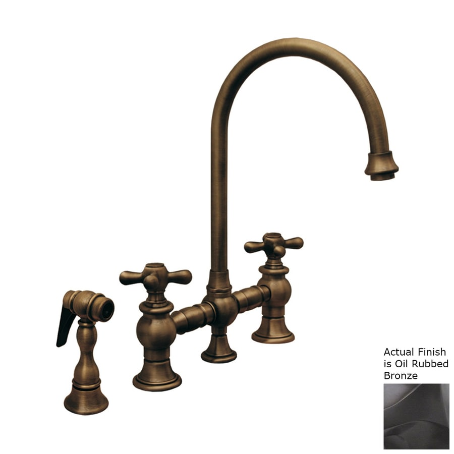 Whitehaus Collection Vintage III Oil Rubbed Bronze 2-Handle High-Arc Kitchen Faucet with Side Spray