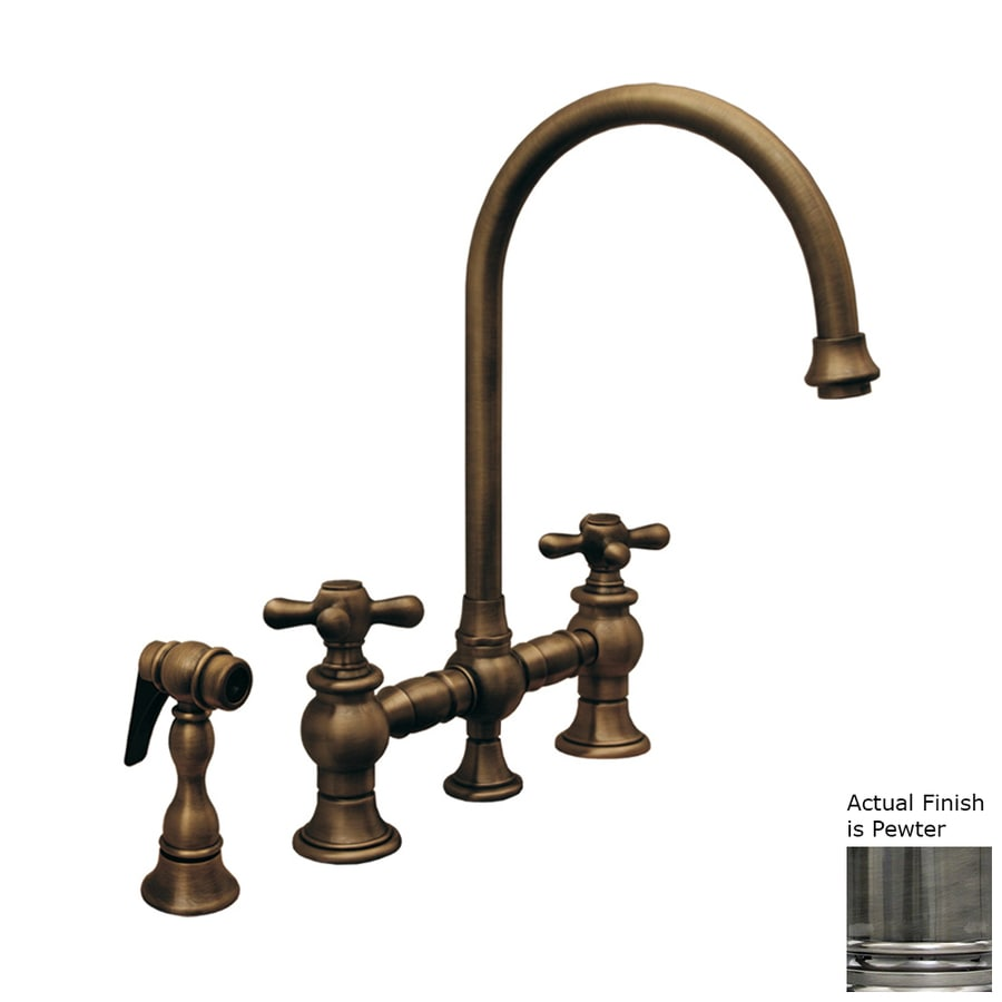 Whitehaus Collection Vintage III Pewter 2-Handle High-Arc Kitchen Faucet with Side Spray