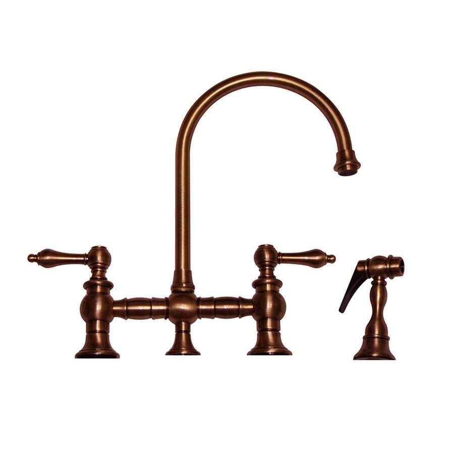Whitehaus Collection Vintage III Antique Copper 2-handle Deck Mount High-Arc Kitchen Faucet